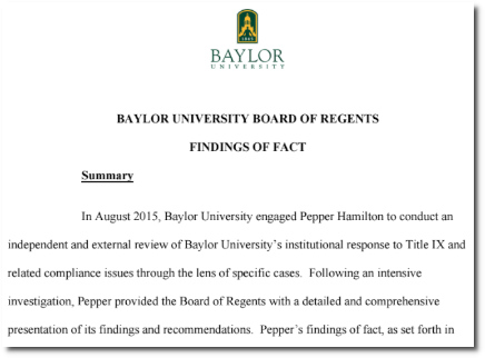 Baylor Univ report on findings regarding Ken Starr's response to reports of sexual assault (2016)