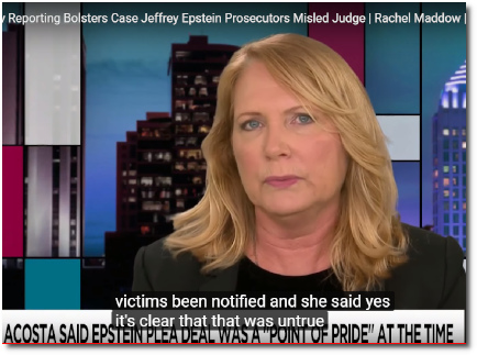 Julie Brown of Miami Herald says it is clear that prosecutor lied to the Judge in trial of Jeffrey Epstein (20 March 2019)