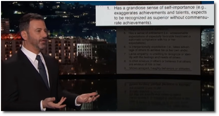 Proof that Trump has Narcissistic Personality Disorder (22 March 2019, Jimmy Kimmel).