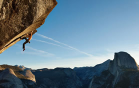 Free solo climbing (without ropes) in yosemite