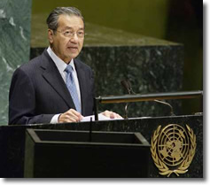 Dr. Mahathir Mohamad addressing the United Nations General Assembly
