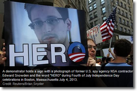 Edward Snowden celebrated in Boston as a hero