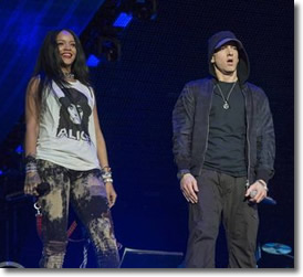 Rihanna and Eminem at Comerica Park in Detroit for the Monster Tour