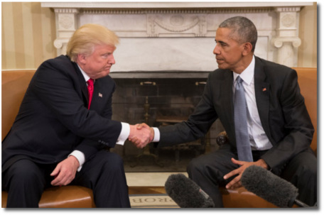 Trump meets with Obama at the White House on Nov 10, 2016