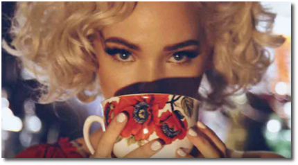 Dove Cameron sipping from a cup for the Feb 2017 issue of Galore