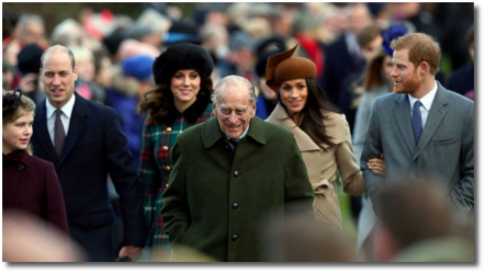 Meghan Markle and Prince Harry with the Royal family on Christmas day 2017