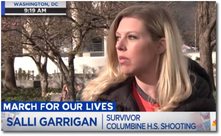 Columbine shooting survivor Salli Garrigan at March for Our Lives Washington DC 24 March 2018