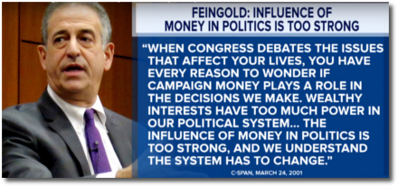 Russ Feingold says that money in politics corrupts the decision-making process of the people's representatives