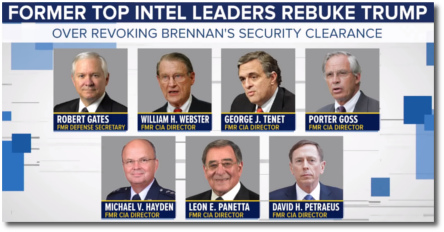 Former top Intel leaders rebuke Trump over revoking John Brennan's security clearance